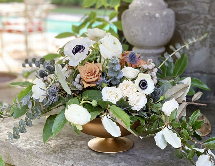 compote vase flower arrangement