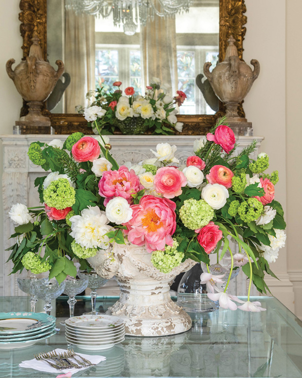 Grand centerpiece in an antique container by Destiny Pinson