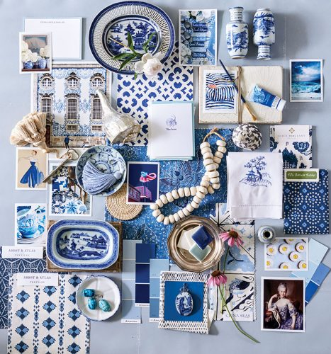 A collage of blue-and-white, including china pieces, wallpaper, paint swatches, textile swatches, jewelry, llnens, and inspration photos