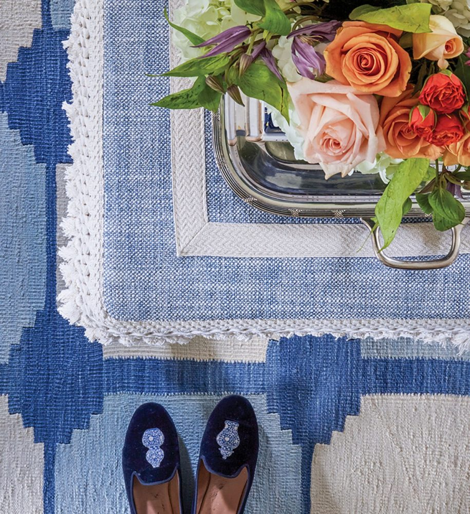 Close up of rug and bench cover