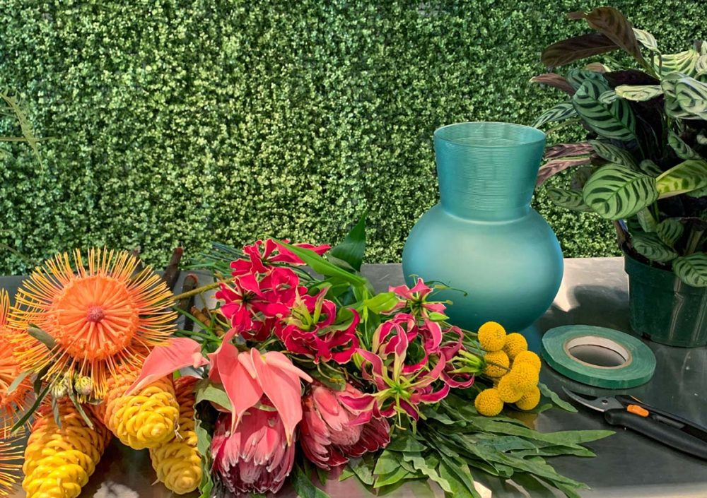 Materials for Jessica Cohen's Tropical Flower Arrangement Video