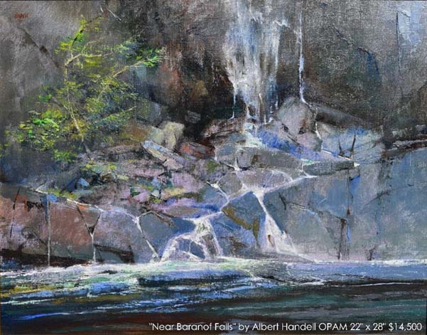 "Painting entitled ""Near Baranof Falls"" by artist Albert Handell, Oil Painters of America member"