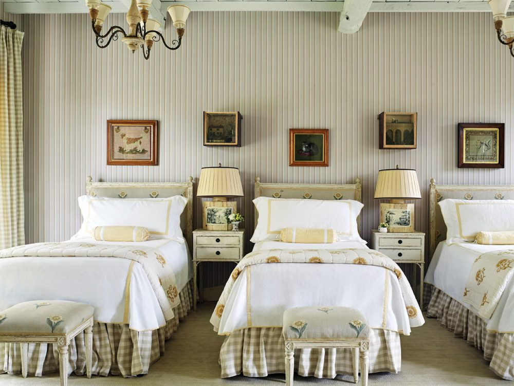 Guest room with three twin beds designed by Cathy Kincaid