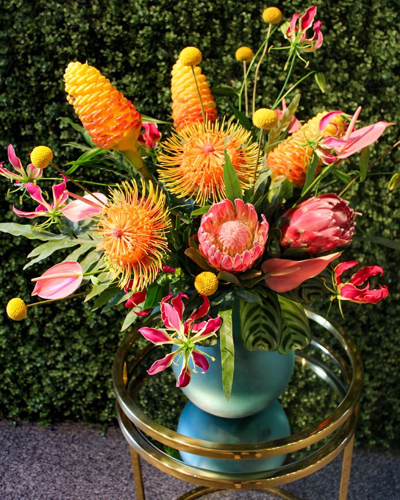 Finished product from Jessica Cohen's Tropical Flower Arrangement Video