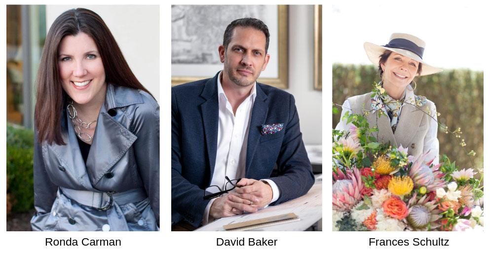 2019 Antiques in the Garden Tastebuds speakers entrepreneurRonda Carman, architect David Baker,and author Frances Schultz