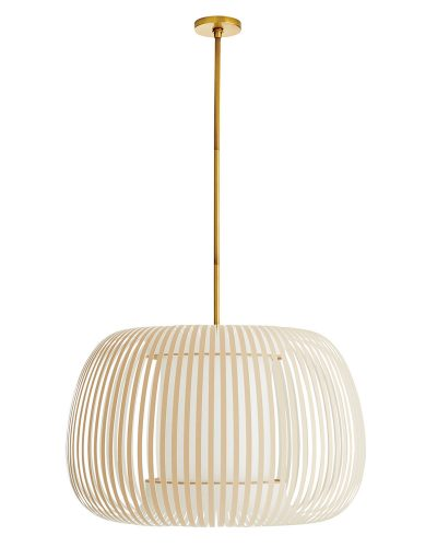 Pendant light with white linear slates circling the shade
