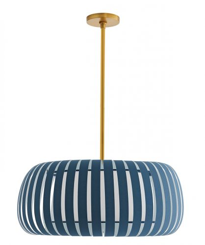 Pendant lamp with deep blue linear slates circling the shade