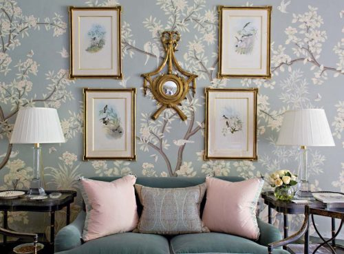Sitting area featuring Gracie's 'Hampton Garden' scenic wallpaper