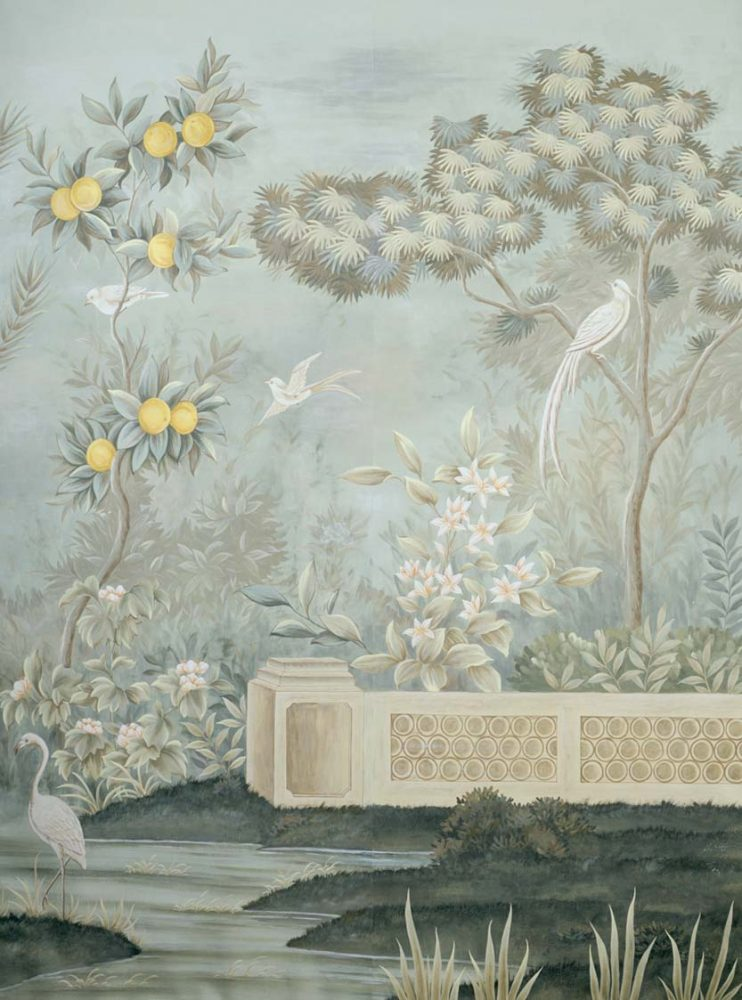 scenic Gracie wallpaper panel featuring a scene with a low garden wall, exotic birds, fruit trees and flowering shrubs
