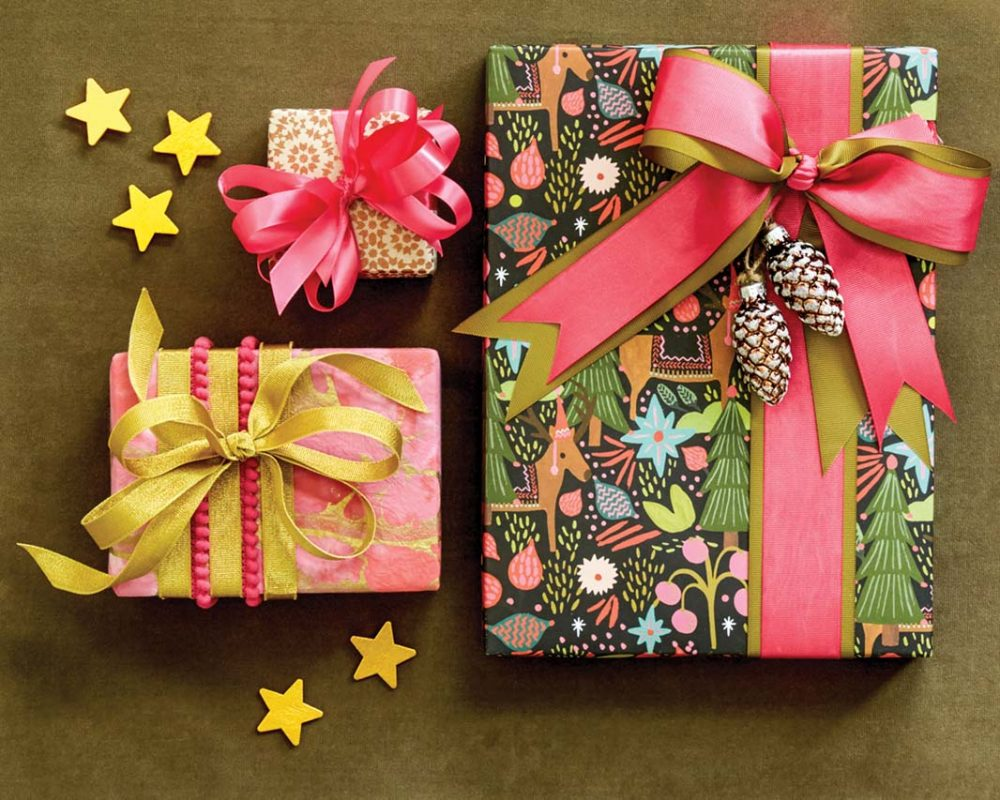Holiday Gift Wrap ideas in Unexpected colors, including pink and yellow
