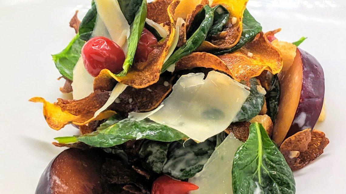 Delicata Squash Caesar Salad with Pickled Plums