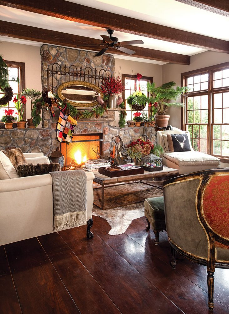living room Christmas decor in the home of event planners Rick Davis and Christopher Vazquez
