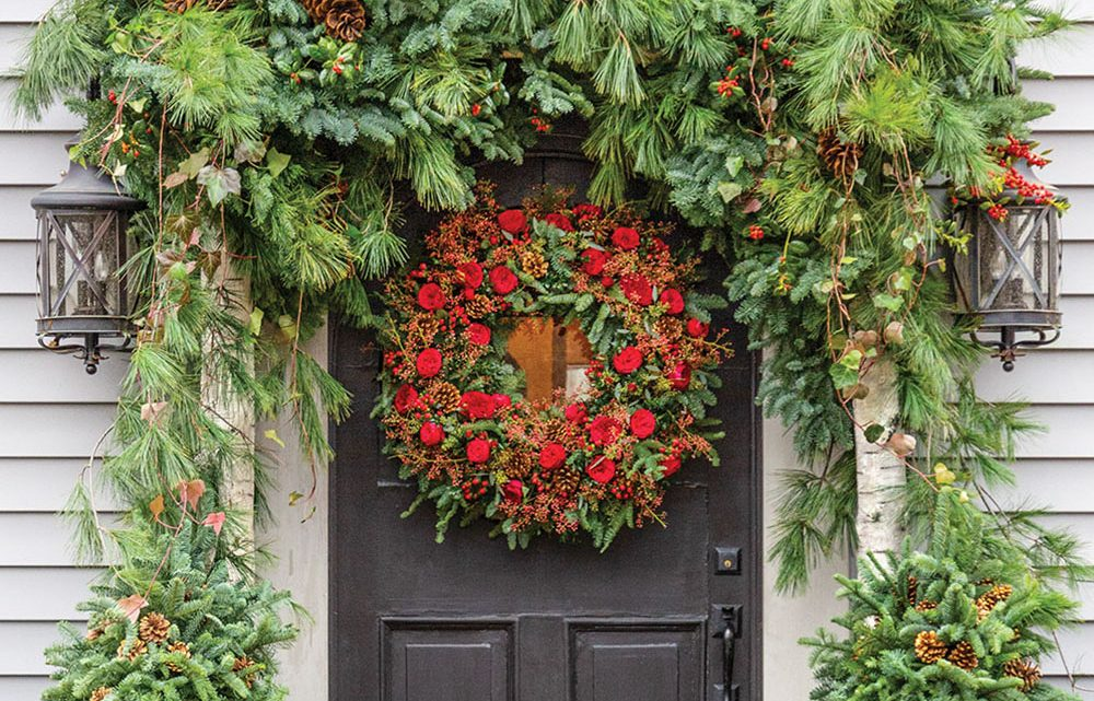 front door wreath and garland
