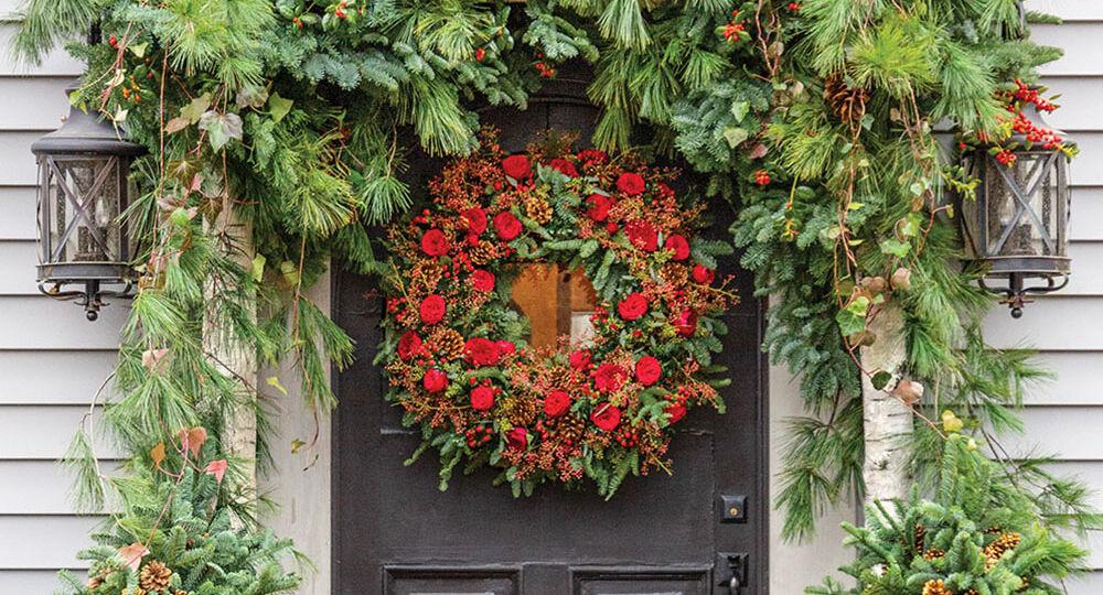 front door wreath and garland