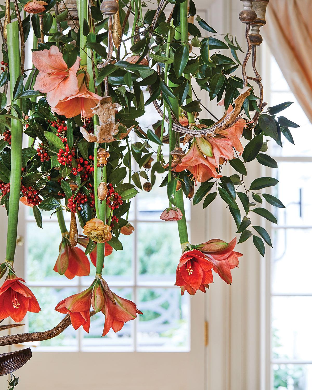 closeup of flower-adorned chandelier