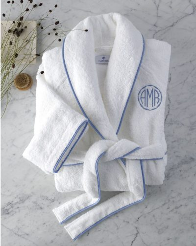 White robe with blue trim