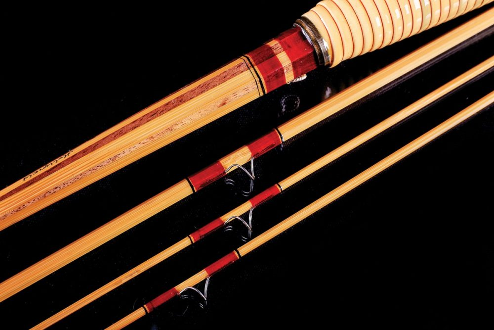 closeup of red silk bands on custom fly rods from Hollifield Bamboo