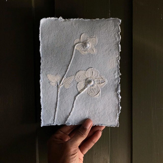 Example of new line of floral paper reliefs by artist Ron Nicole