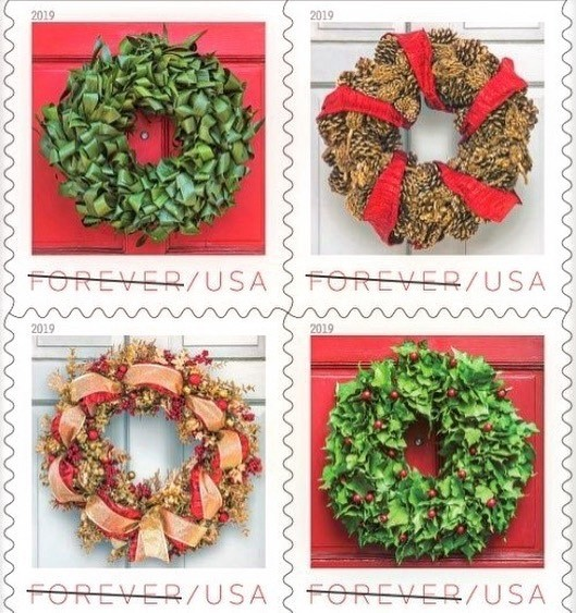 Collection of 4 holiday wreath stamps by floral designer Laura Dowling
