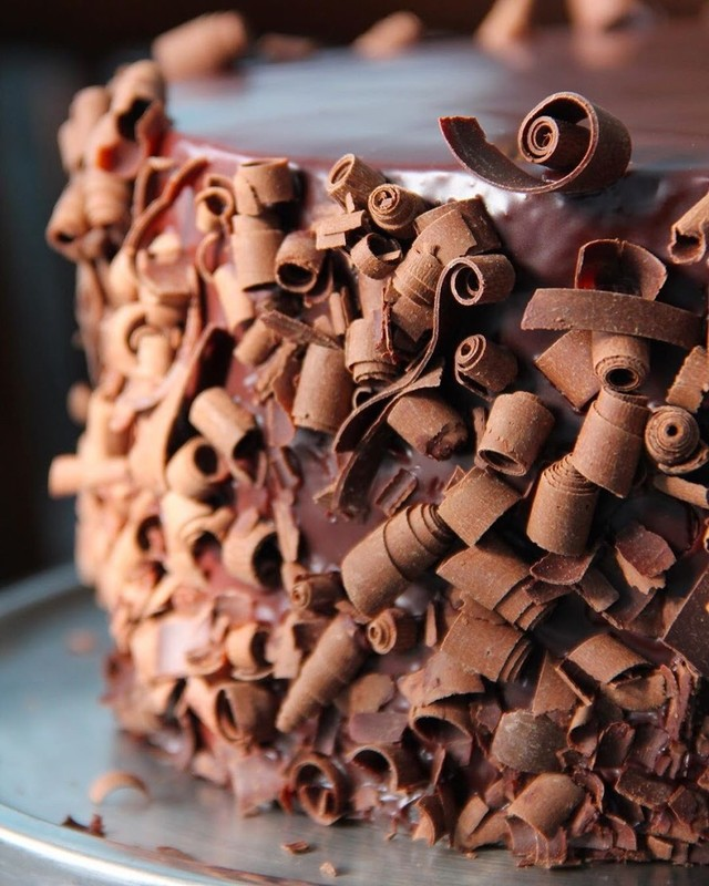 Best of Asheville: chocolate cake covered in chocolate curls