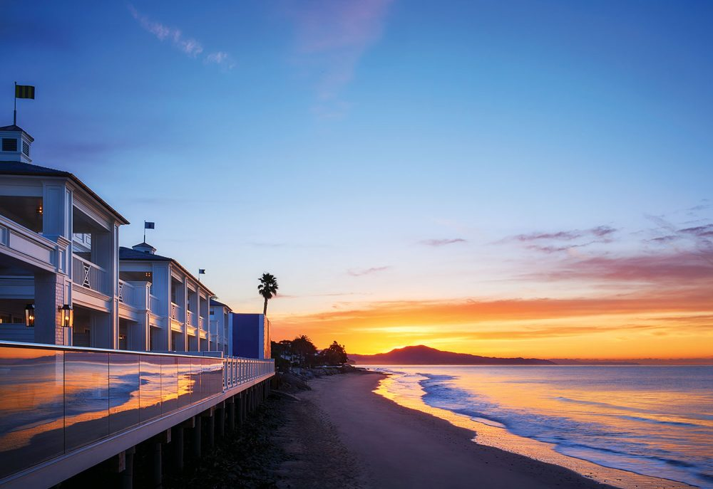favorite Santa Barbara hotels: Rosewood Miramar Beach; view of the water at sunset