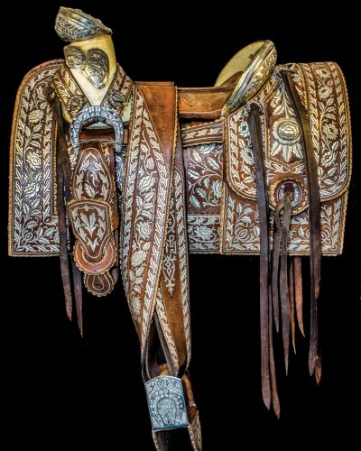 Photos of the historic saddles in the Santa Barbara Historical Museum