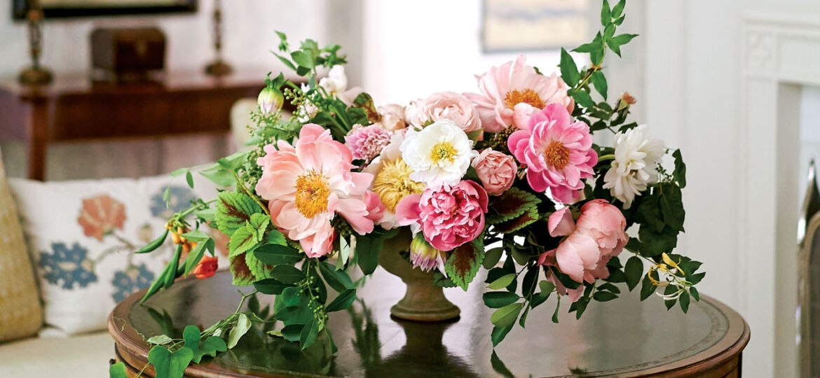 An arrangement peonies by Bows & Arrows in Dallas.