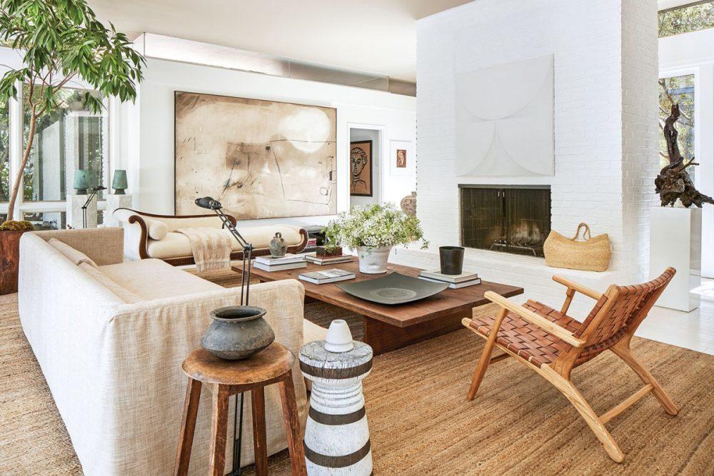 white modern living room; Chairish vintage lamps