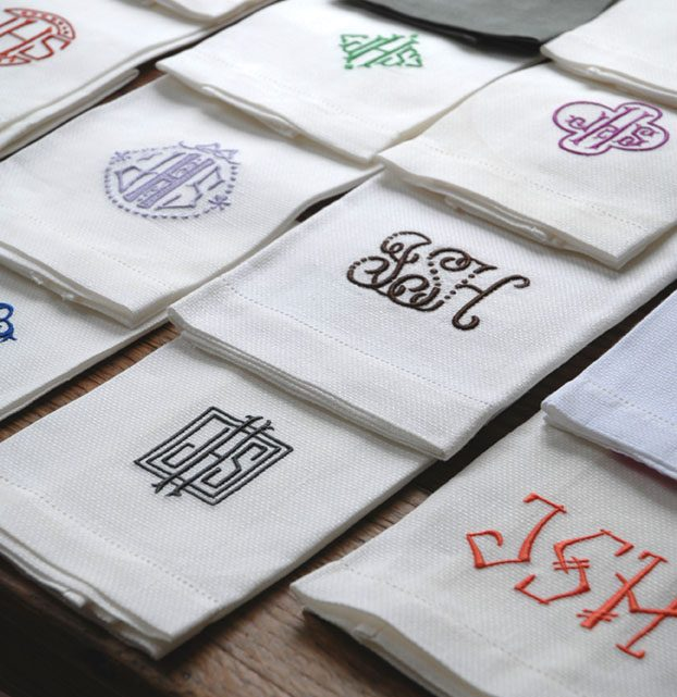 A sampling of monogrammed napkins in Leontine Linens founder Jane Scott Hodges' personal collection