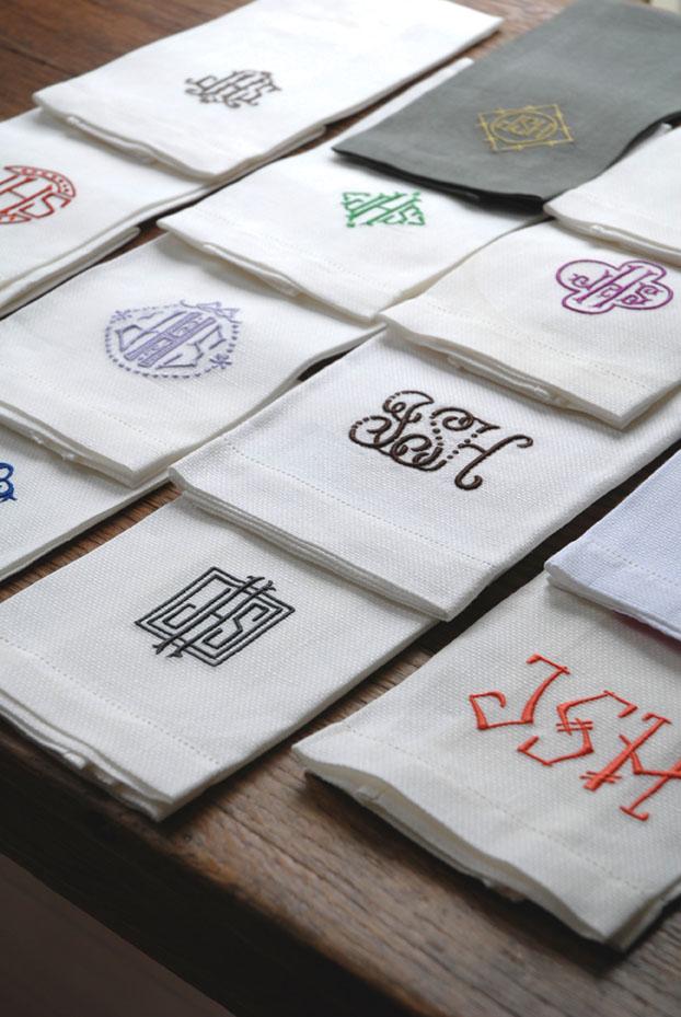 styles of monogrammed napkins