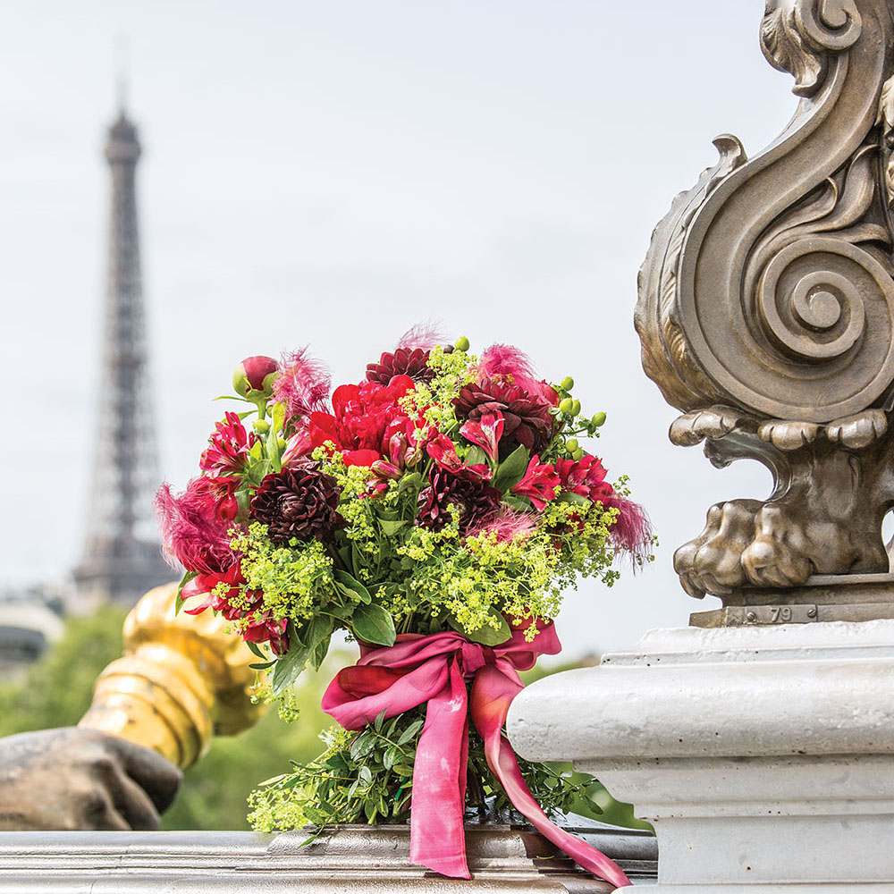 Laura Dowling bouquet; view of the Eiffel tower