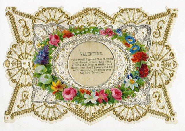 Victorian-style Pressed Flower Valentine