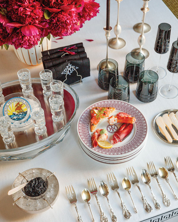 entertaining in a small space, vodka and caviar station