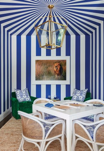 blue-and-white game room
