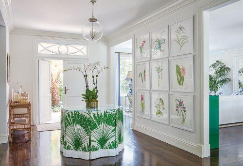 green and white Palm Beach foyer by Ellen Kavanaugh Interiors