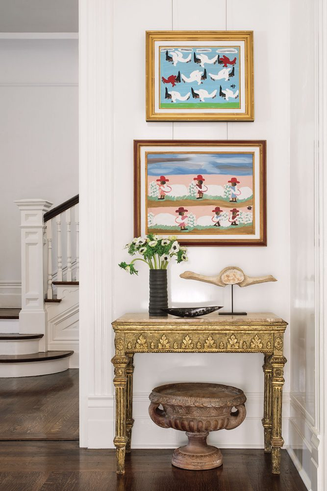 Vignette of art and antiques by designer Tara Shaw