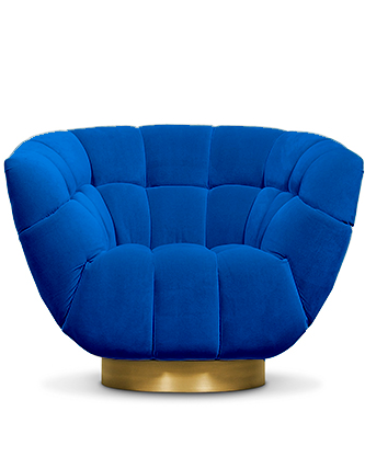 Blue upholstered chair with gold base
