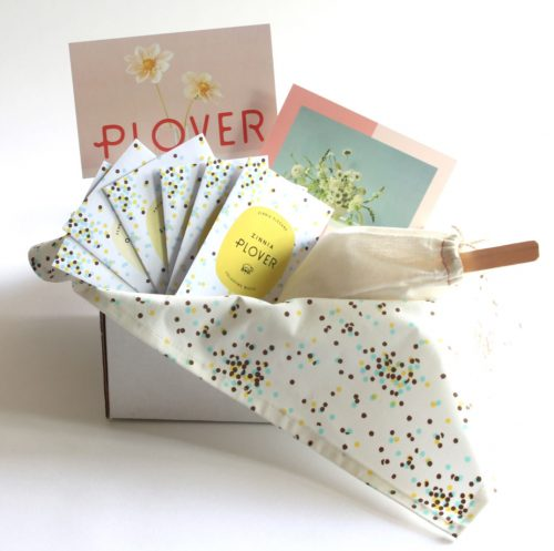 Plover moonlight cutting garden kit, including seed packs, a tea towel, dahlia tuber, garden design plans and growing instructions