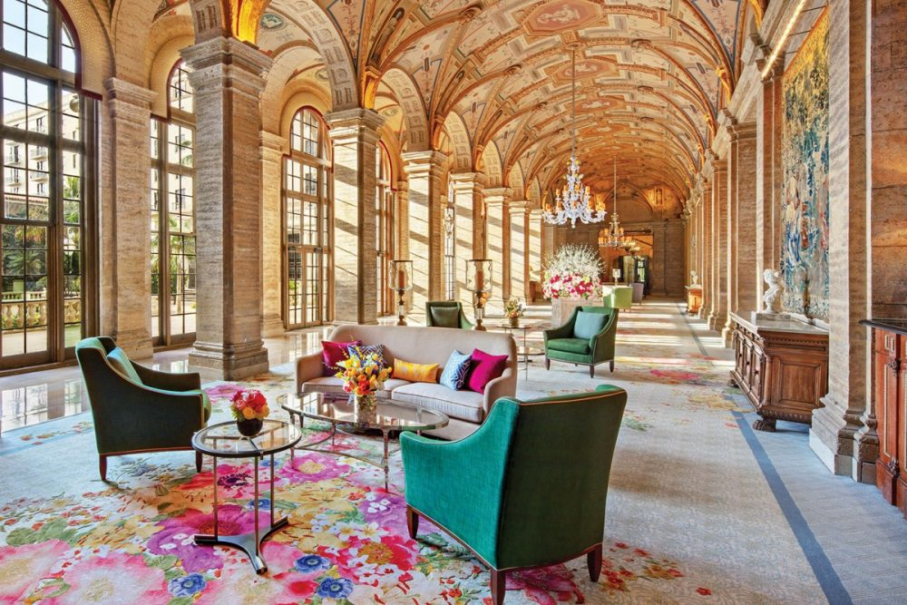 floral rug in the arched lobby of The Breakers hotel in Palm Beach