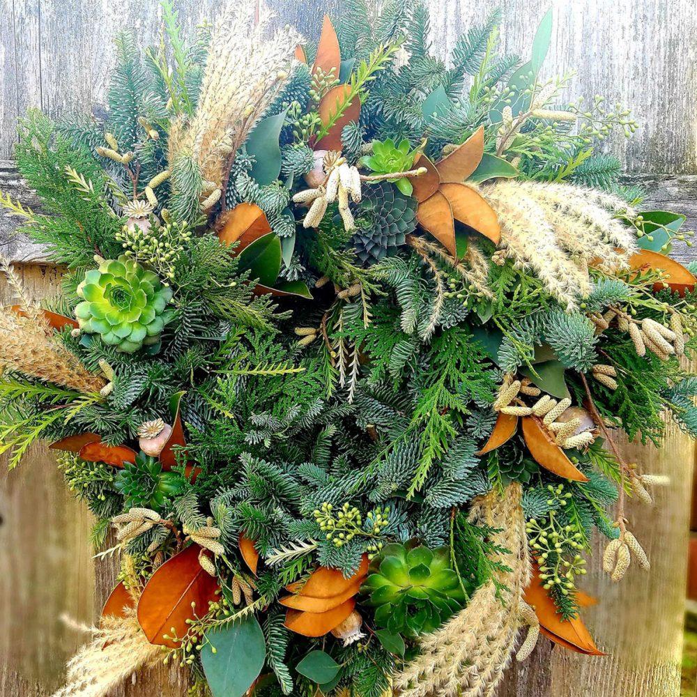 winter wreath, foraged foliage