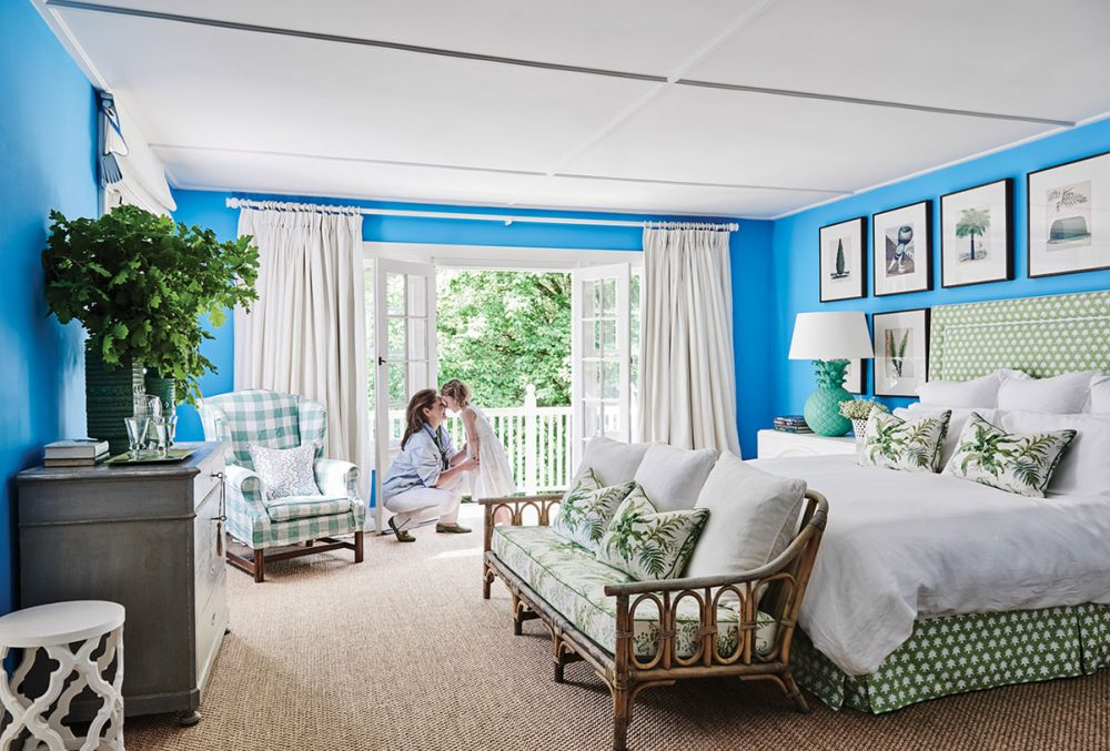 blue master bedroom in the home of Australian interior designer Charlotte Coote