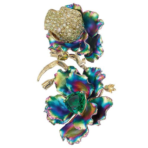 Rainbow Magnolia earring