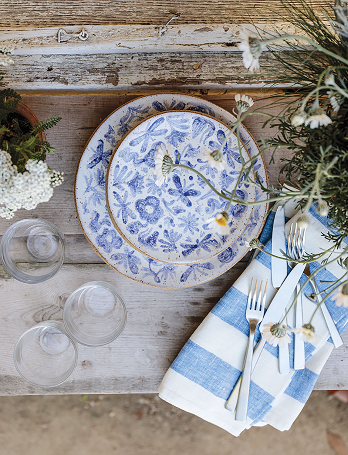 rustic blue-and-white place setting
