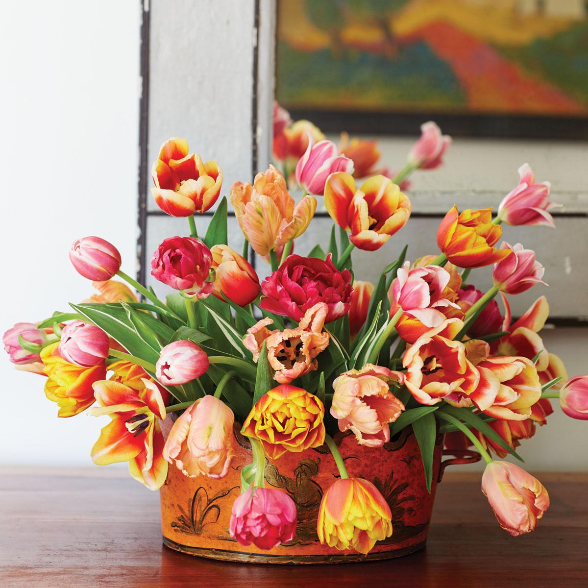 A simple tulip arrangement by floral designer Mimi Brown in a tole cachepot