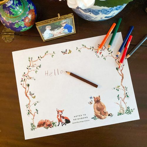 printable children's stationery featuring illustrations of a fox, baby deer, beer, bunny, and butterflies
