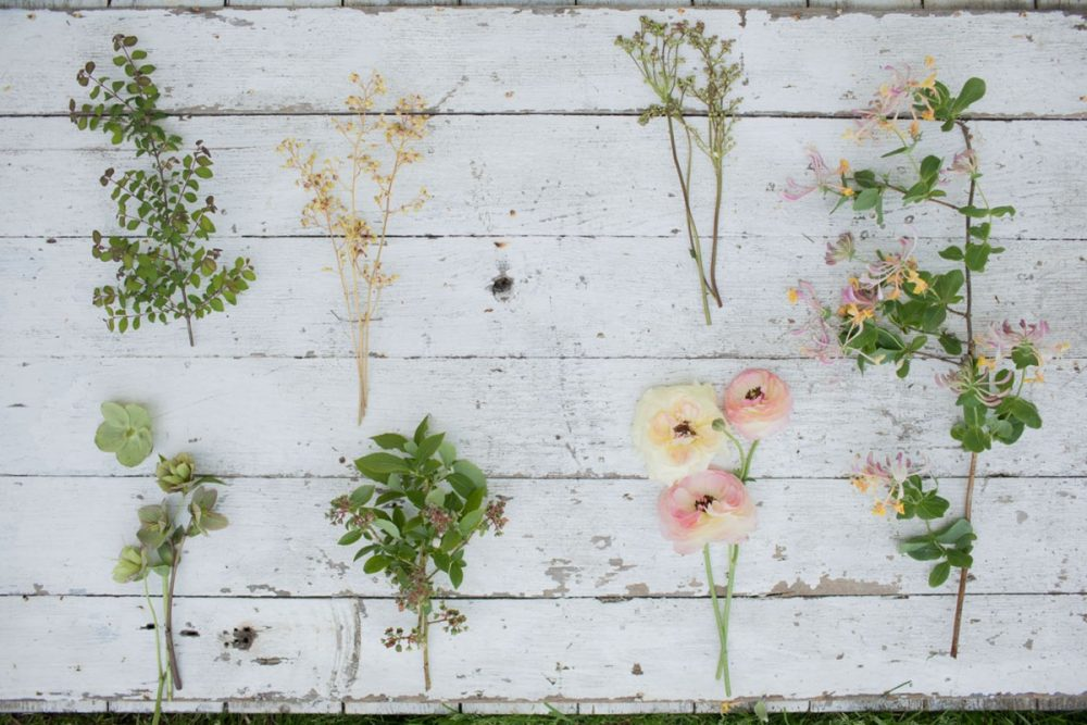 individual flowers and foliage for the honeysuckle vine arrangement, arranged on a rustic whitewashed wood boards
