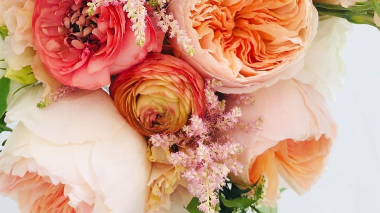 bouquet of peach and pink, in tones ranges from light to dark