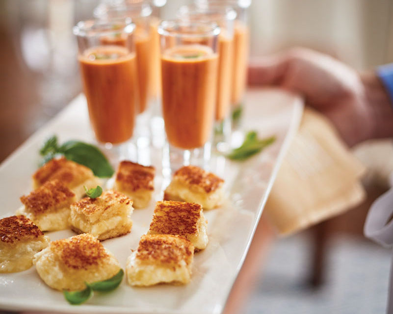 mini gourmet grilled cheese with tomato soup shooters