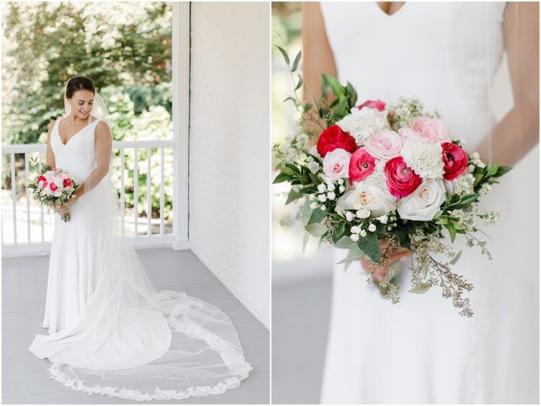 bride standing on a wrap around porch holding a bouquet