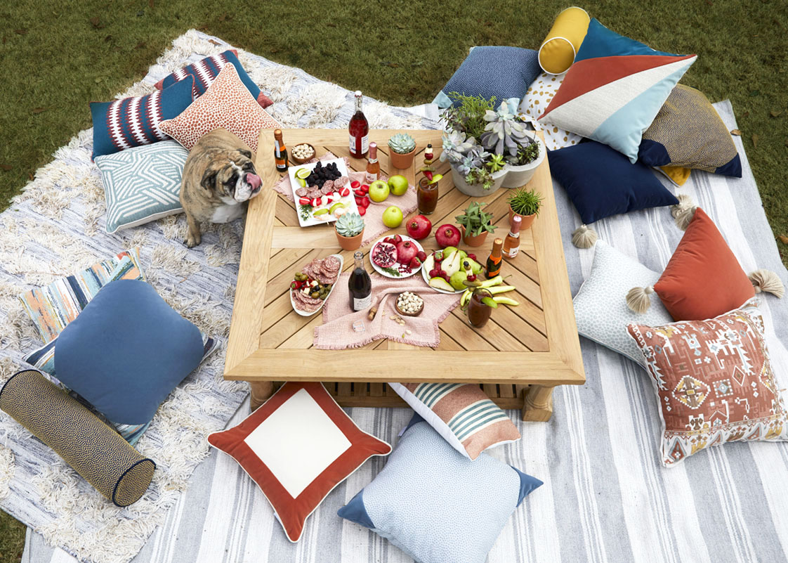 charcuterie board picnic, outdoor pillows and rugs, picnic